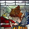 Restored and installed art nouveau stained glass window (detail view)