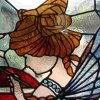 Restored and installed art nouveau stained glass window (detail view 2)