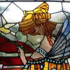 Restored and installed art nouveau stained glass window (detail view 3)