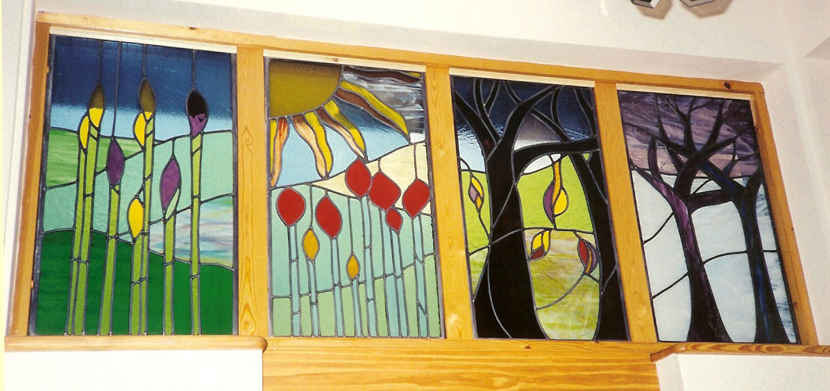Contemporary stained glass window - 'Four Seasons' Harston, Cambridge